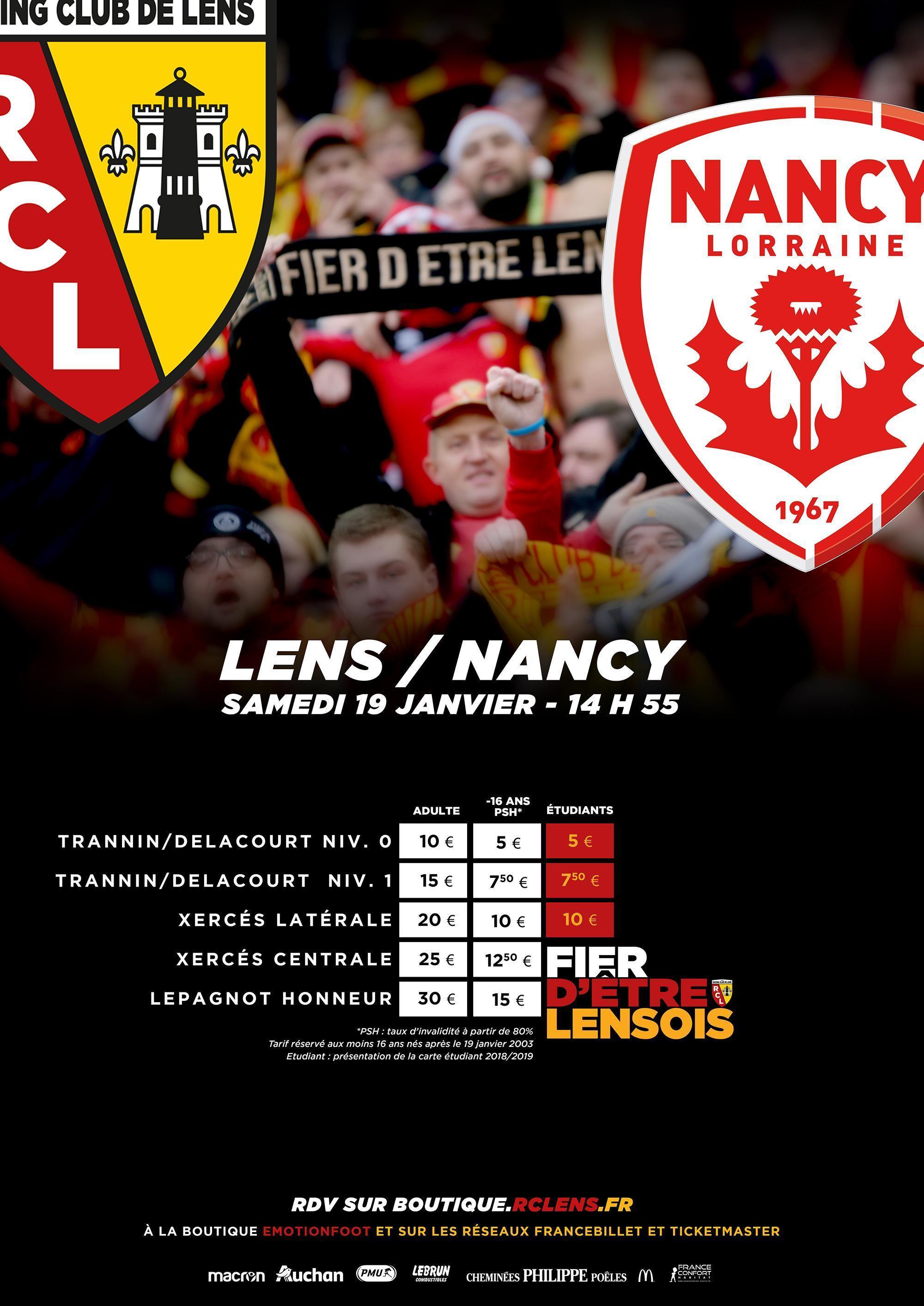 Billetterie tarifs Lens - Nancy