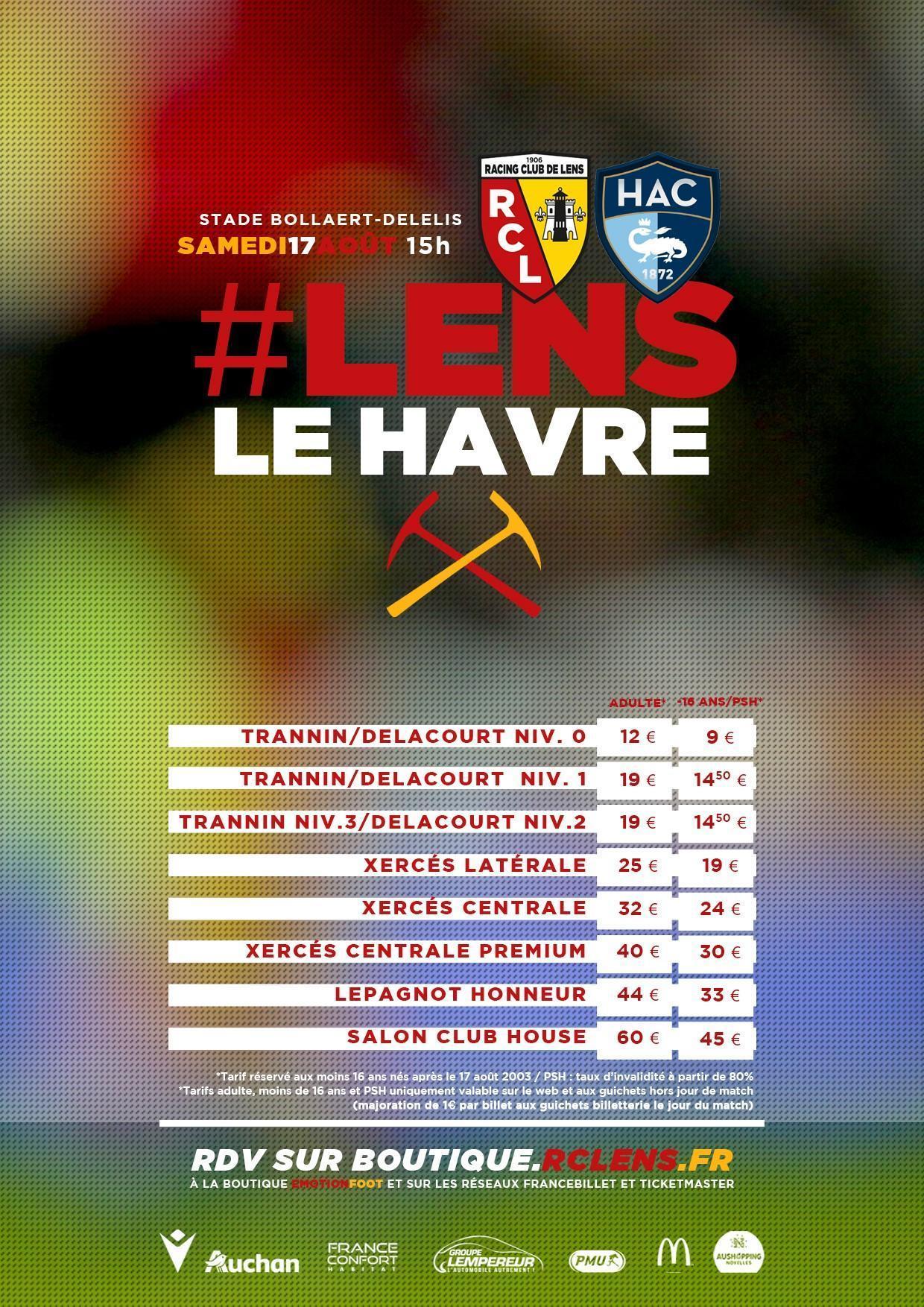 Assistez à Lens - Le Havre billetterie tarifs rclens