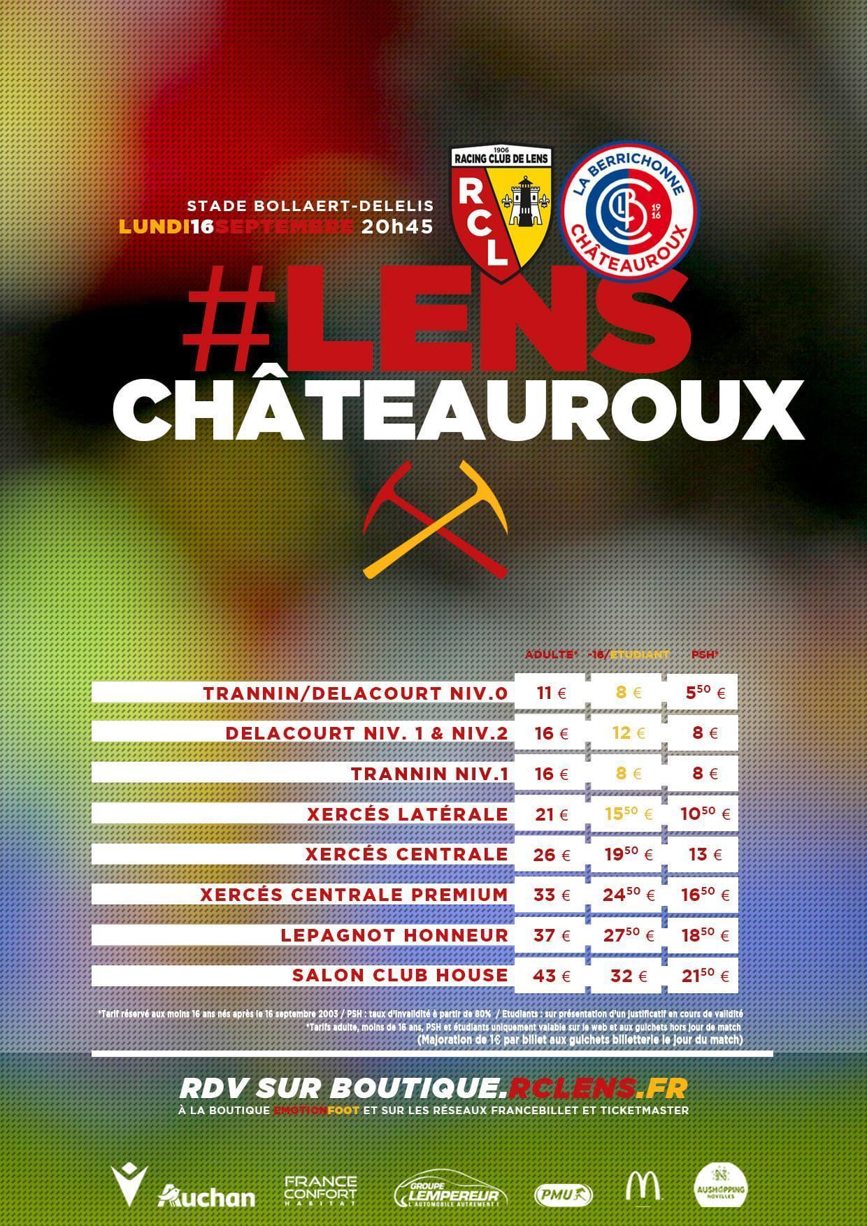Lens Châteauroux tarifs billetterie