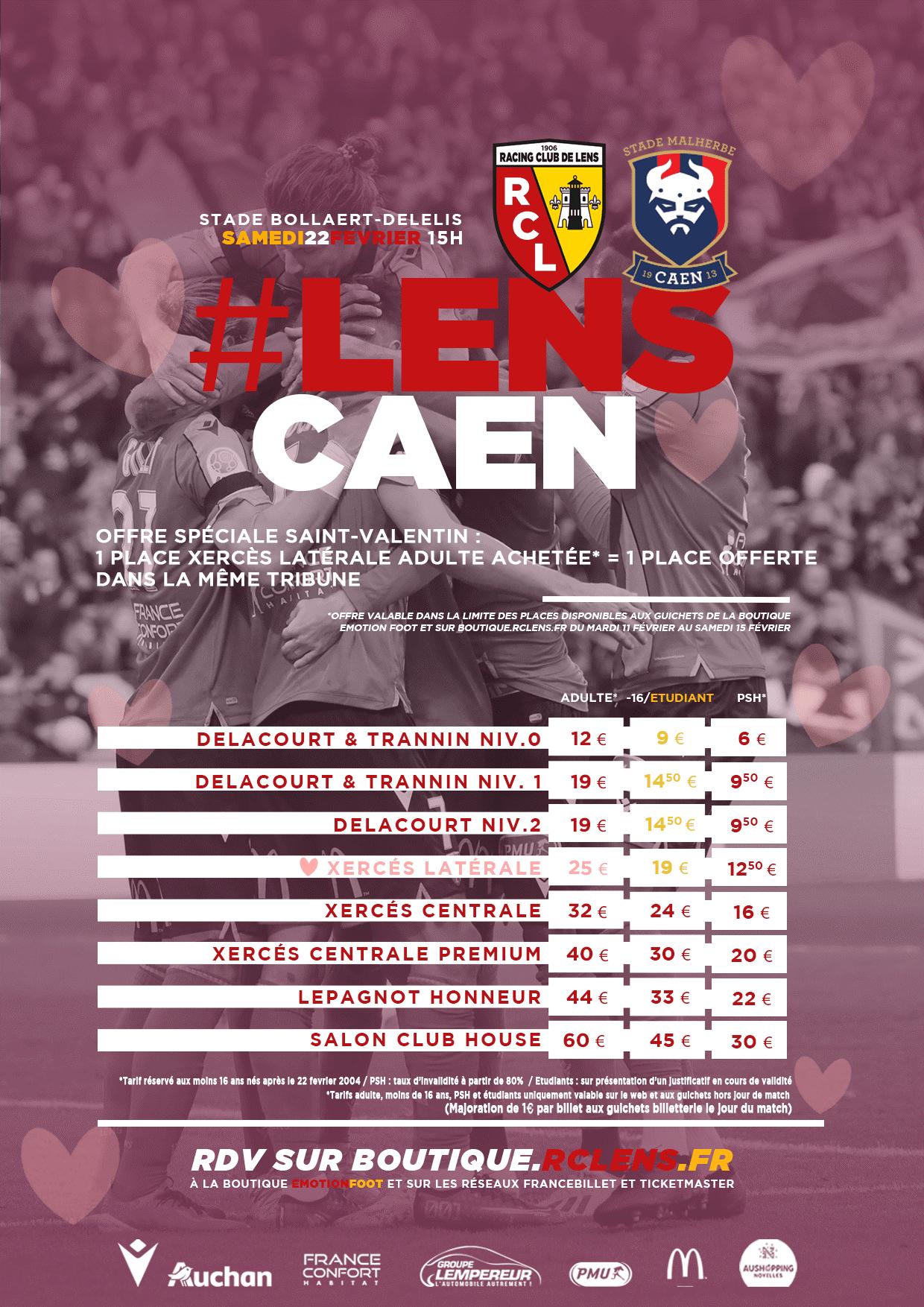 Lens - Caen : offre Saint-Valentin billetterie match tarifs bollaert delelis