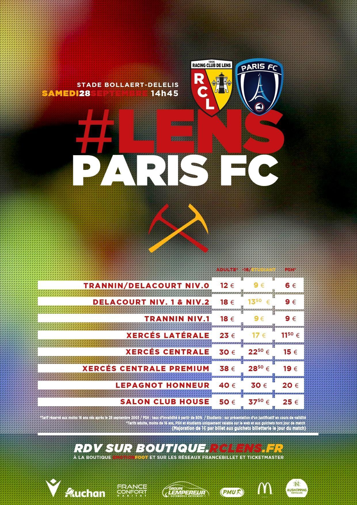 Assistez à Lens - Paris FC billetterie tarifs rclens