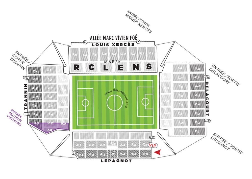 plan du stade Bollaert-Delelis