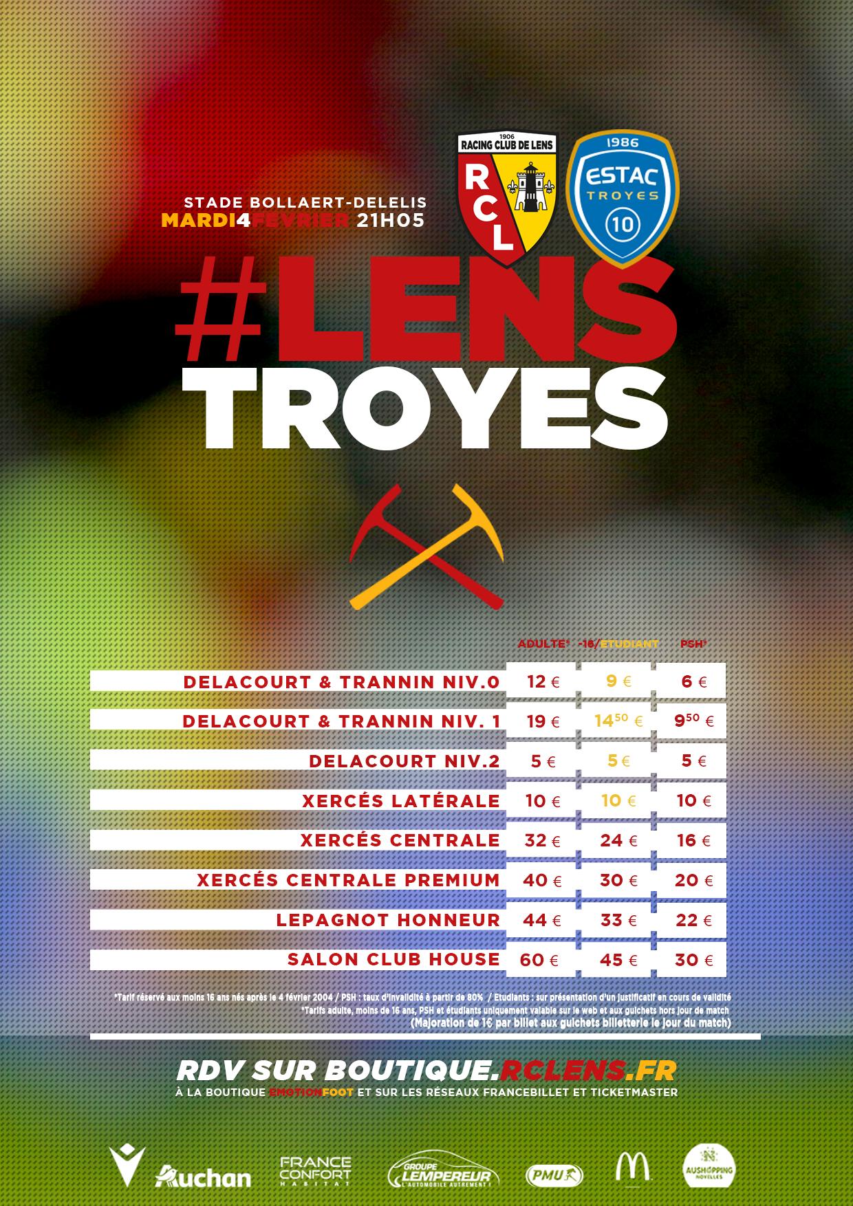 Assistez à Lens - Troyes tarifs billetterie rclens