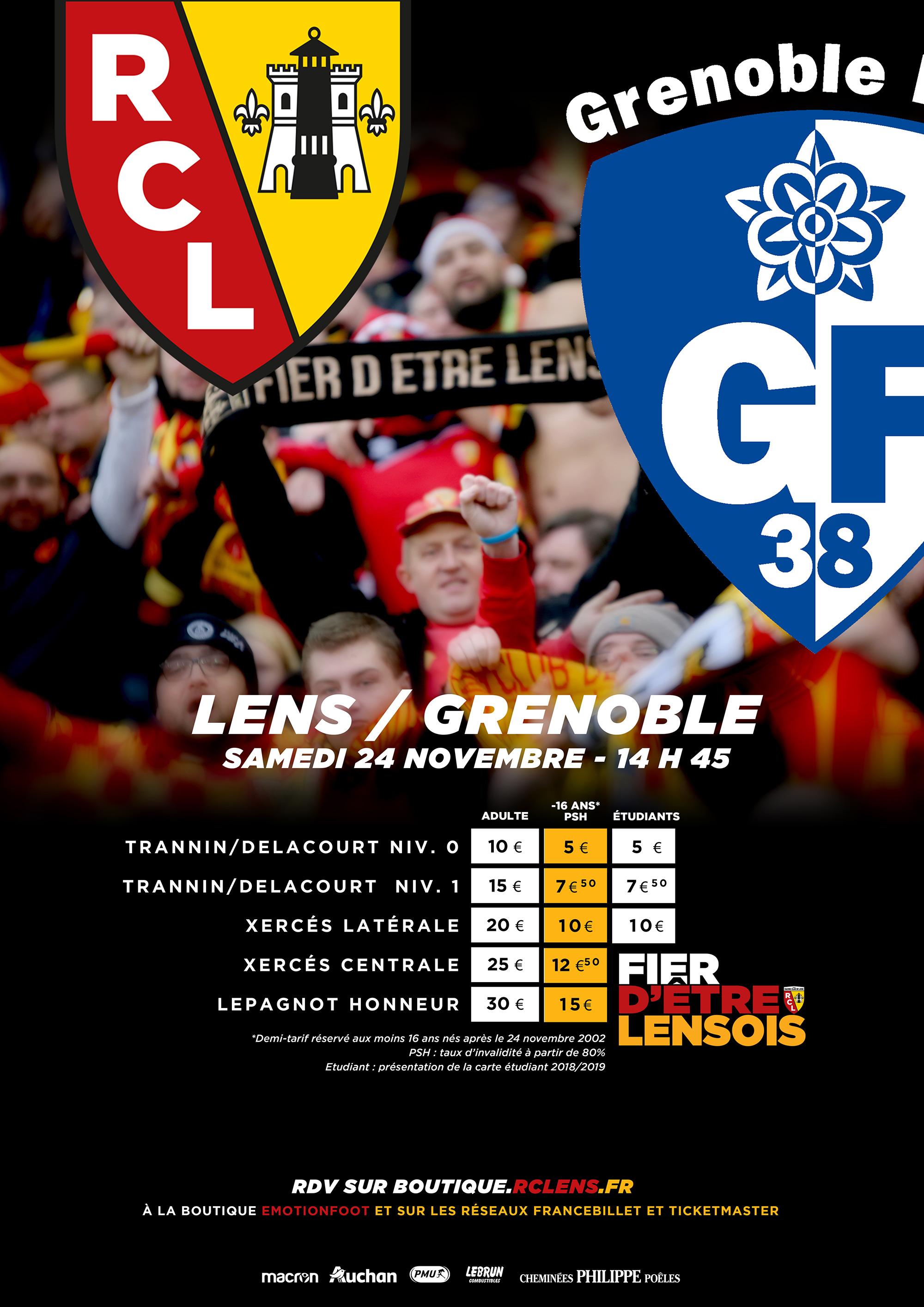 Billetterie tarifs Lens - Grenoble