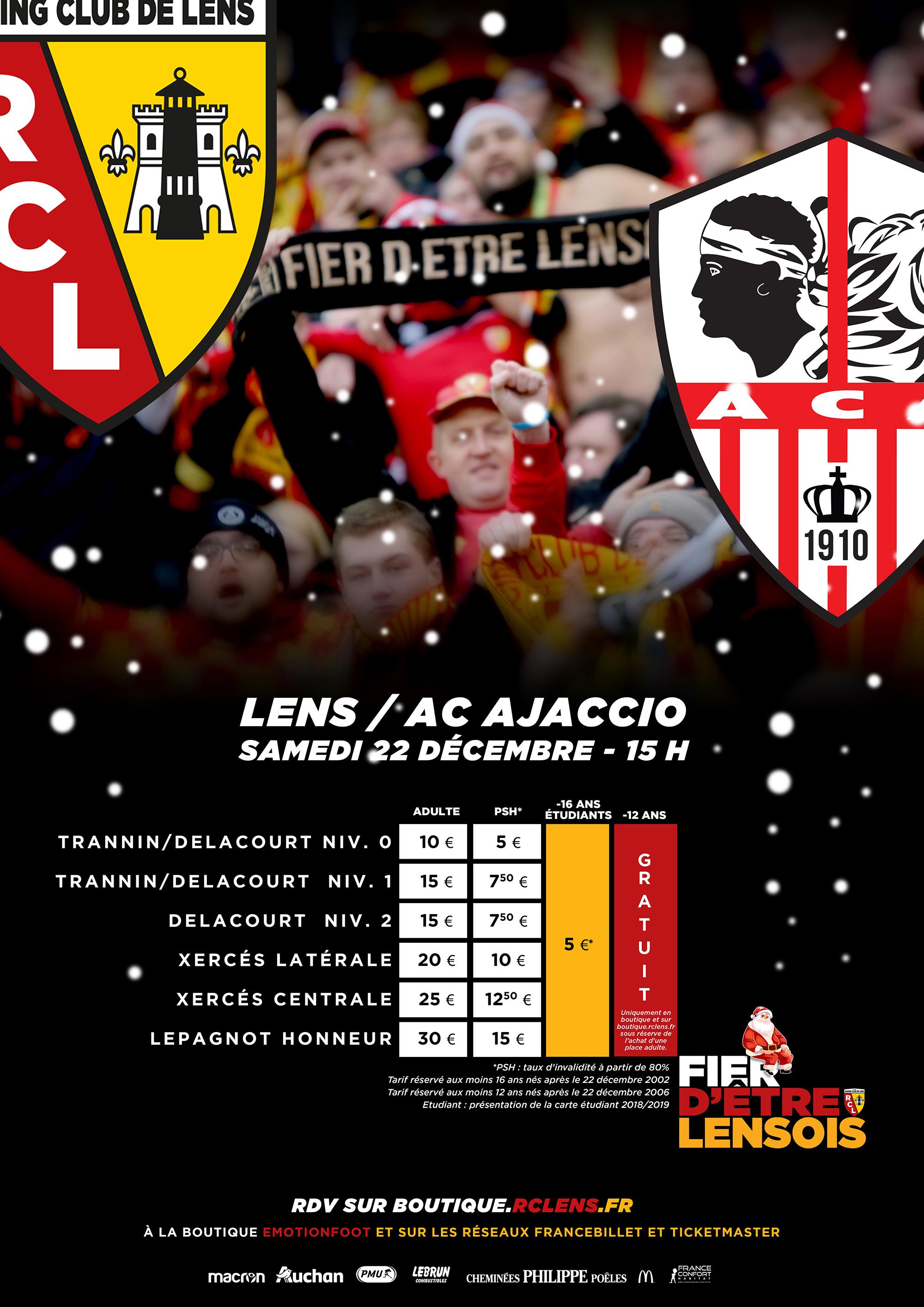 Noël à Bollaert-Delelis : assistez à Lens - AC Ajaccio