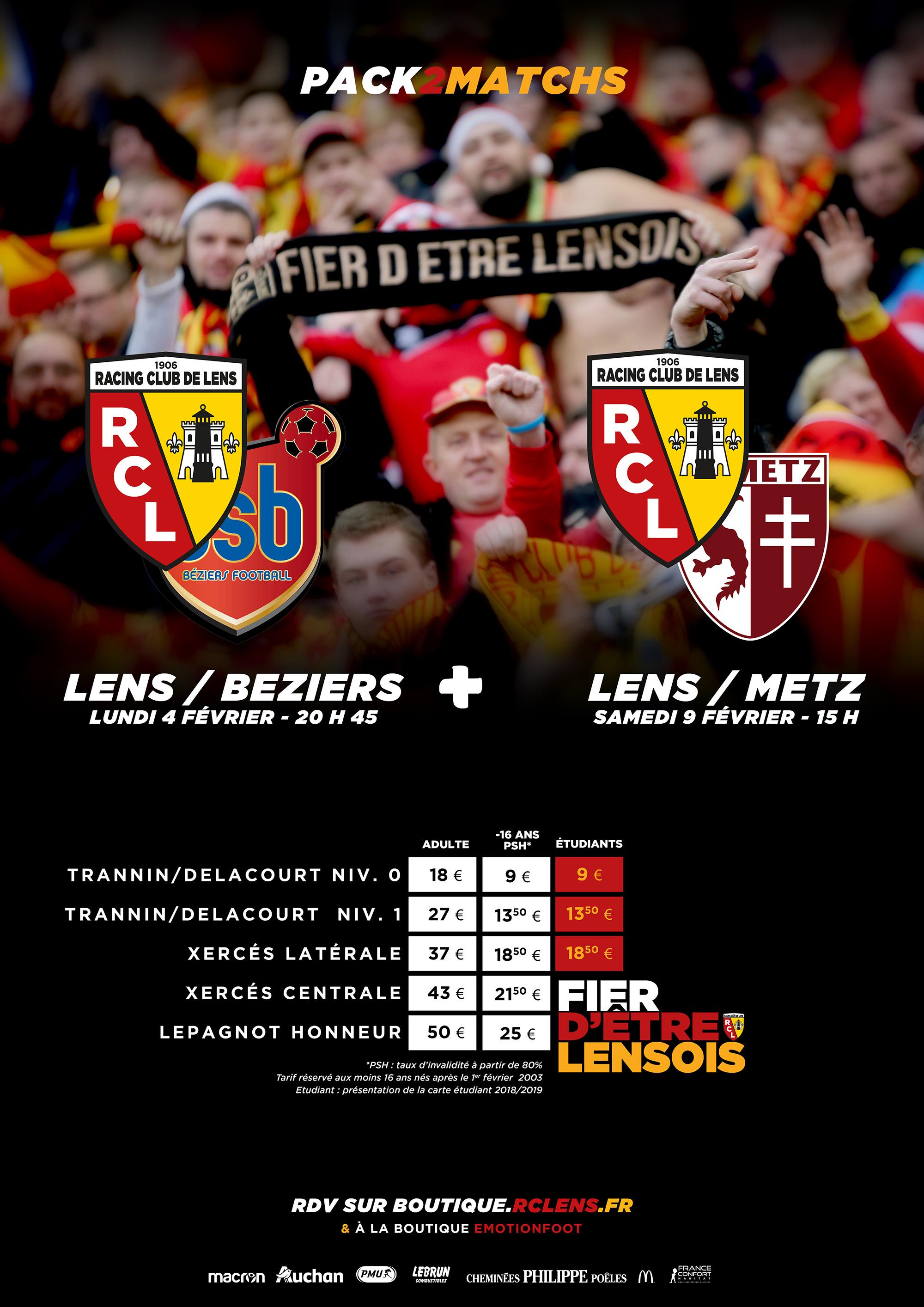 Pack 2 Matchs : Béziers + Metz