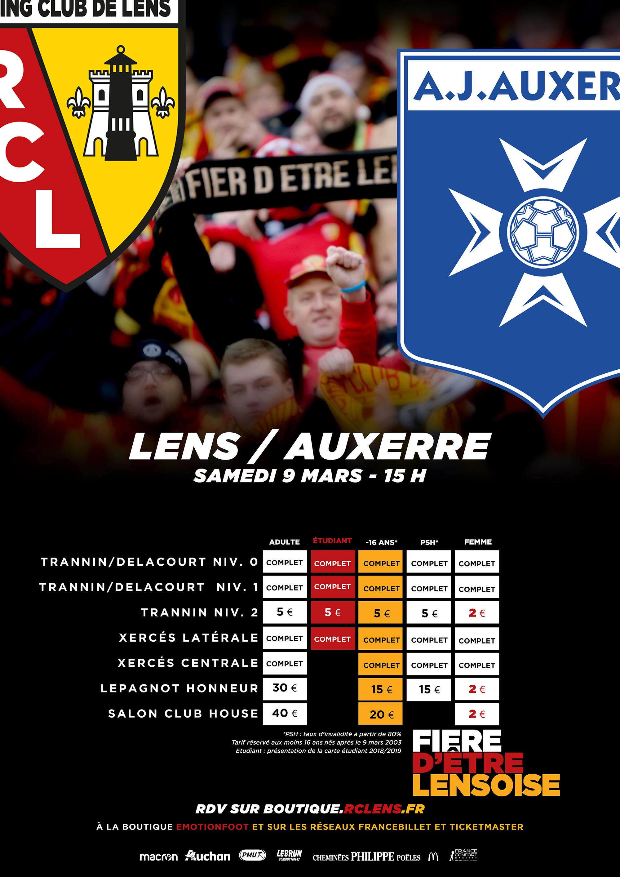 Lens - Auxerre billetterie tarifs