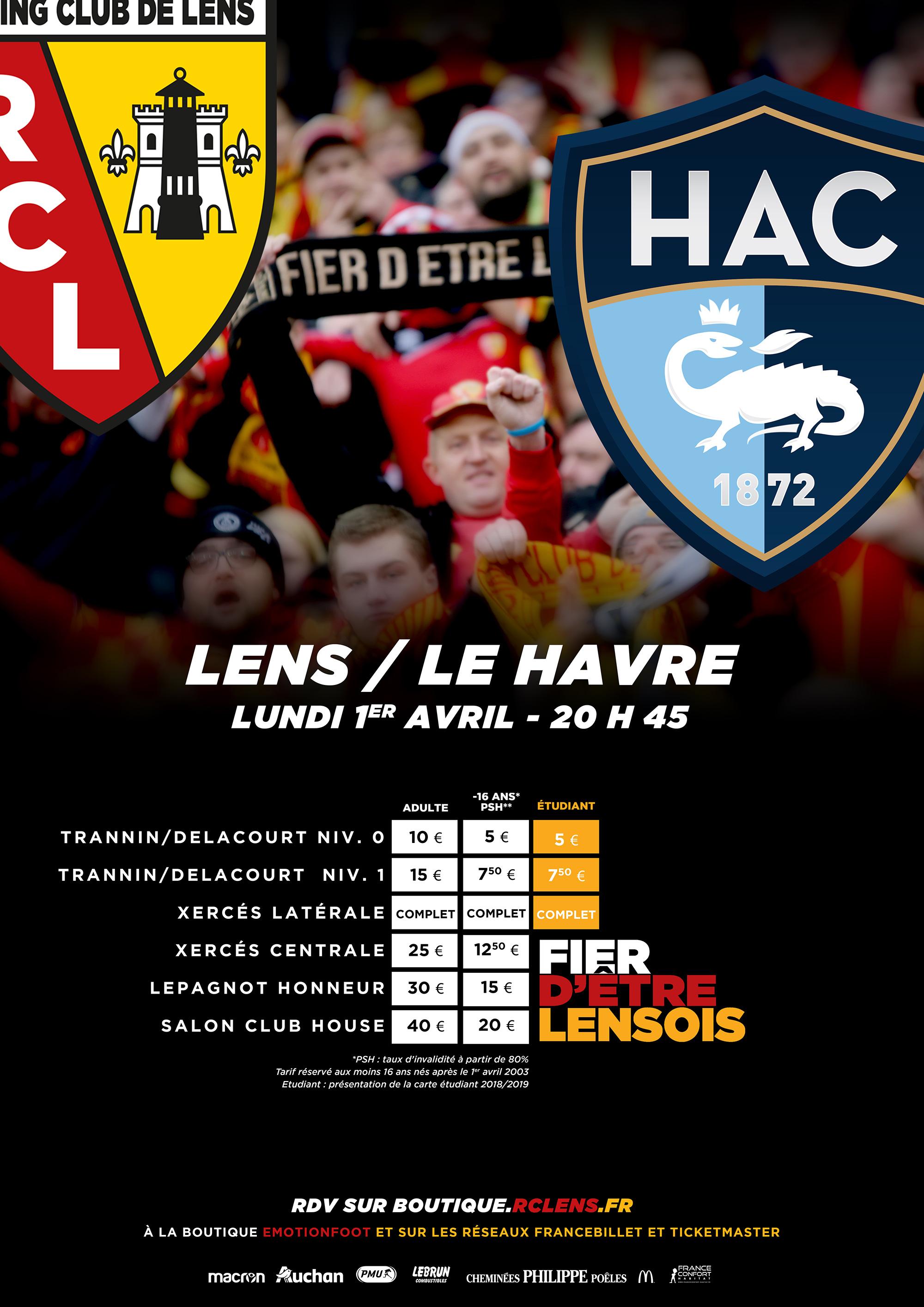 Lens - Le Havre billetterie tarifs
