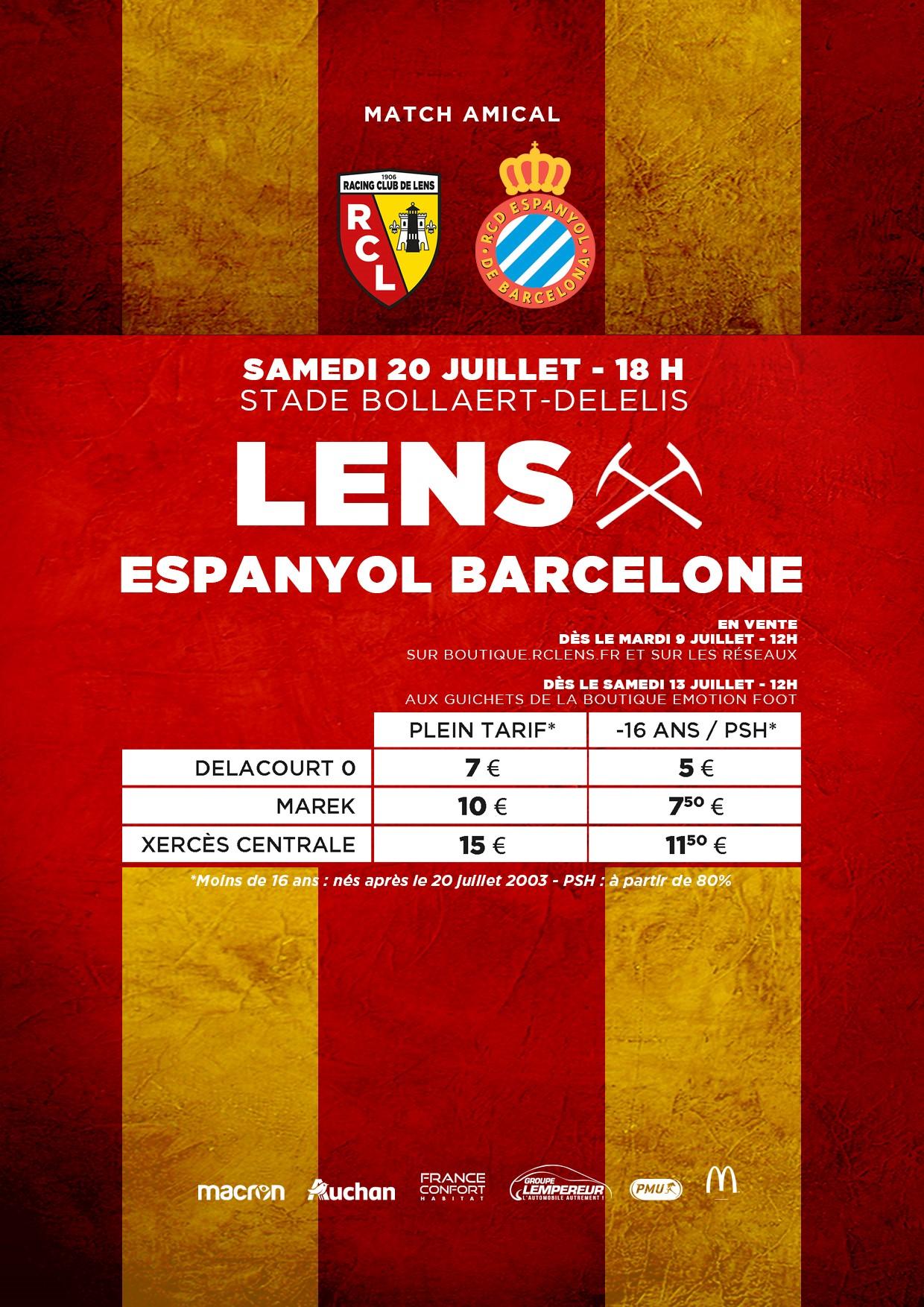 Lens - Espanyol Barcelone tarifs billetterie rclens