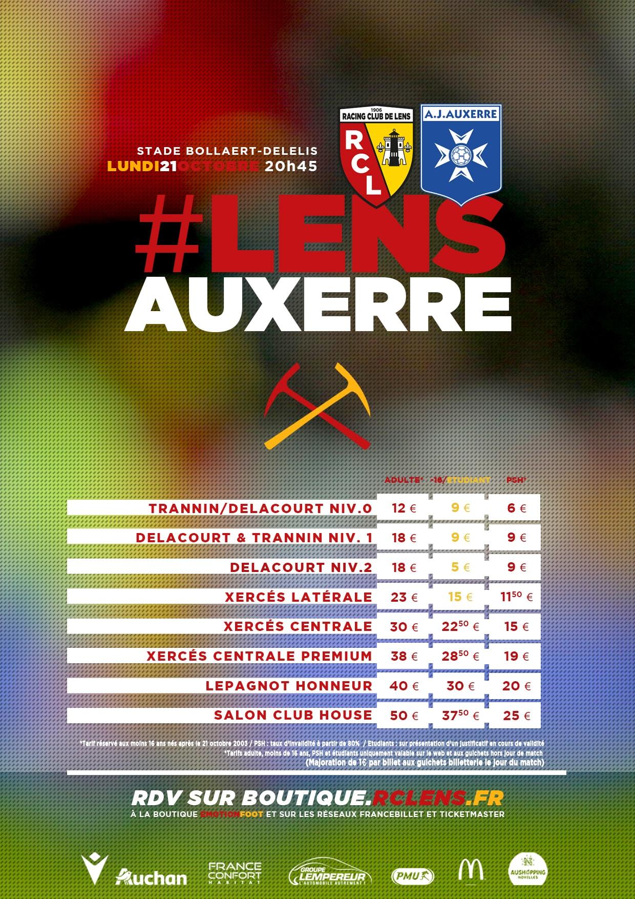 Assistez à Lens - Auxerre billetterie tarifs rclens